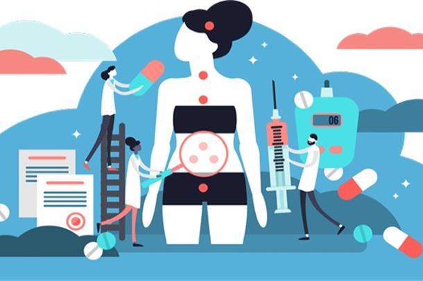 Illustrasjon av en pasient som undersøkes av leger og kommer med løsninger
